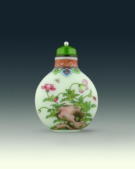 Asian Art Studio (Los Angeles, CA) Enamel on glass snuff bottle by Ye Bengqi Dated 1933-1943