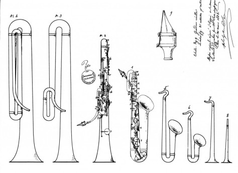 Adolphe Sax patent drawing from French patent #3226 (March 21, 1846) via Selmer.fr